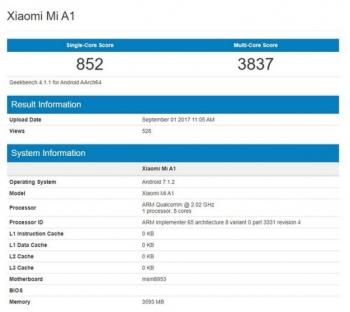 В смартфоне Xiaomi Mi A1 окажется начинка от Mi 5X